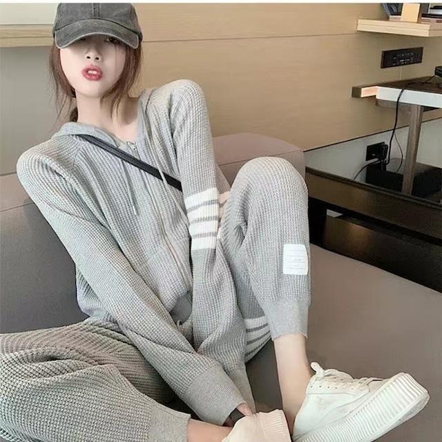 【セット】ファッション長袖フード付きカジュアルパーカー+カジュアルパンツ52448142