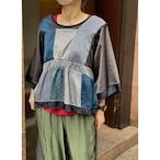 【RehersalL】 pajamas patch square neck blouse(midnight B) /【リハーズオール】パジャマ パッチスクエアネックブラウス(ミッドナイト B)