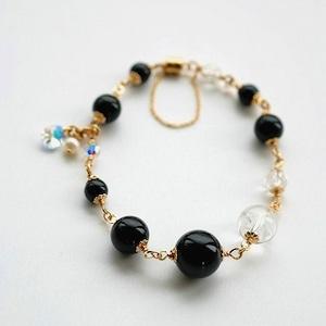 黒水晶 ヒマラヤ産 大粒 アイスクォ-ツ 14KGF ブレスレット ~邪気除け~