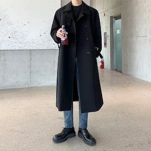 Double breasted buckle belt coat   b-492