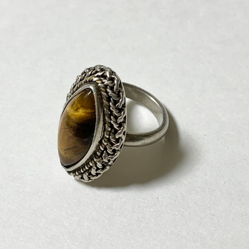 Vintage 925 Silver & Tiger Eye Ring Made In Mexico
