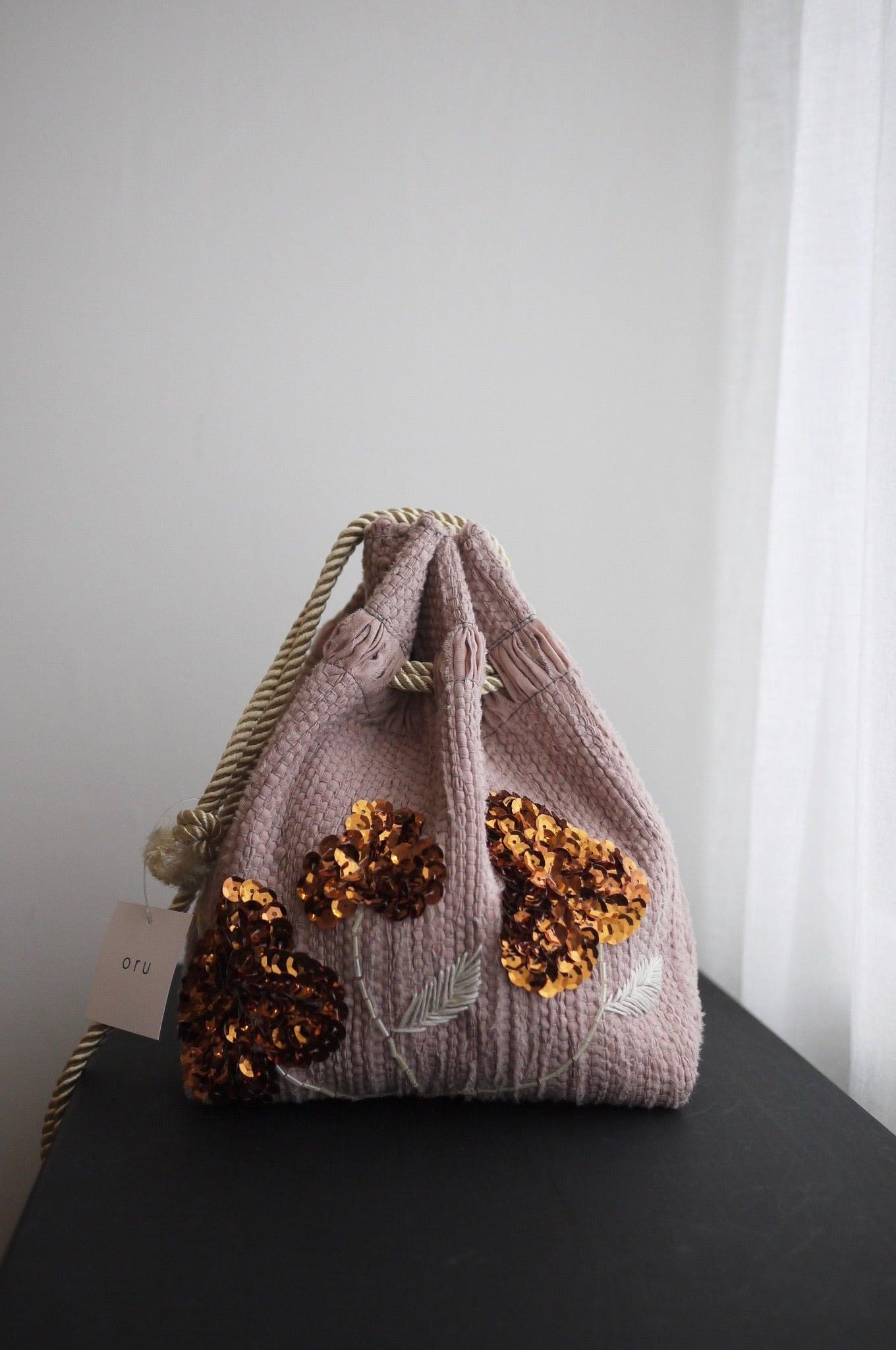 oru | weaving bag ビーズ刺繍巾着 ピンク