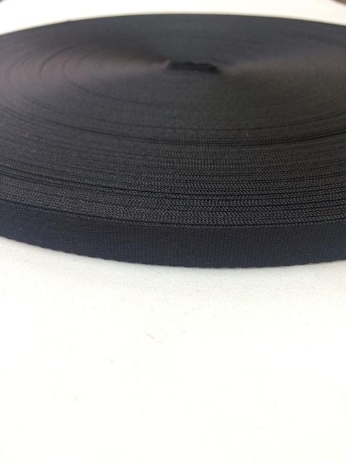 ナイロン  流綾織  10mm幅  1.1mm厚 黒  1反(50m)
