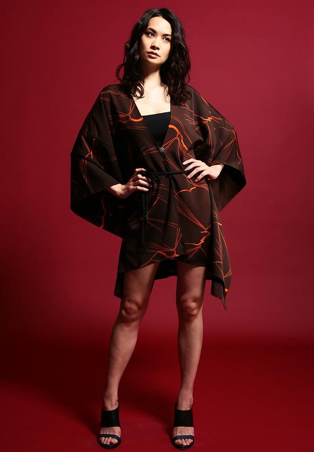 着物ポンチョ(Kimono poncho)Brown×Orange