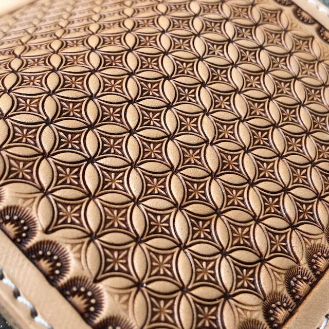 長財布 ロングウォレット ジオメトリックスタンプ レザーカービング 手縫い イタリアンレザー ヌメ革 バイカーズウォレット 日本製 LW-GS LEVEL7