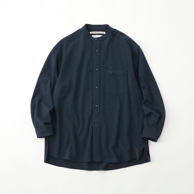 STRETCHED BAND COLLAR SHIRT - NAVY