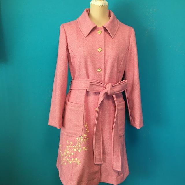 Vintage ボタンと桜色ウールのコート Lサイズ セール