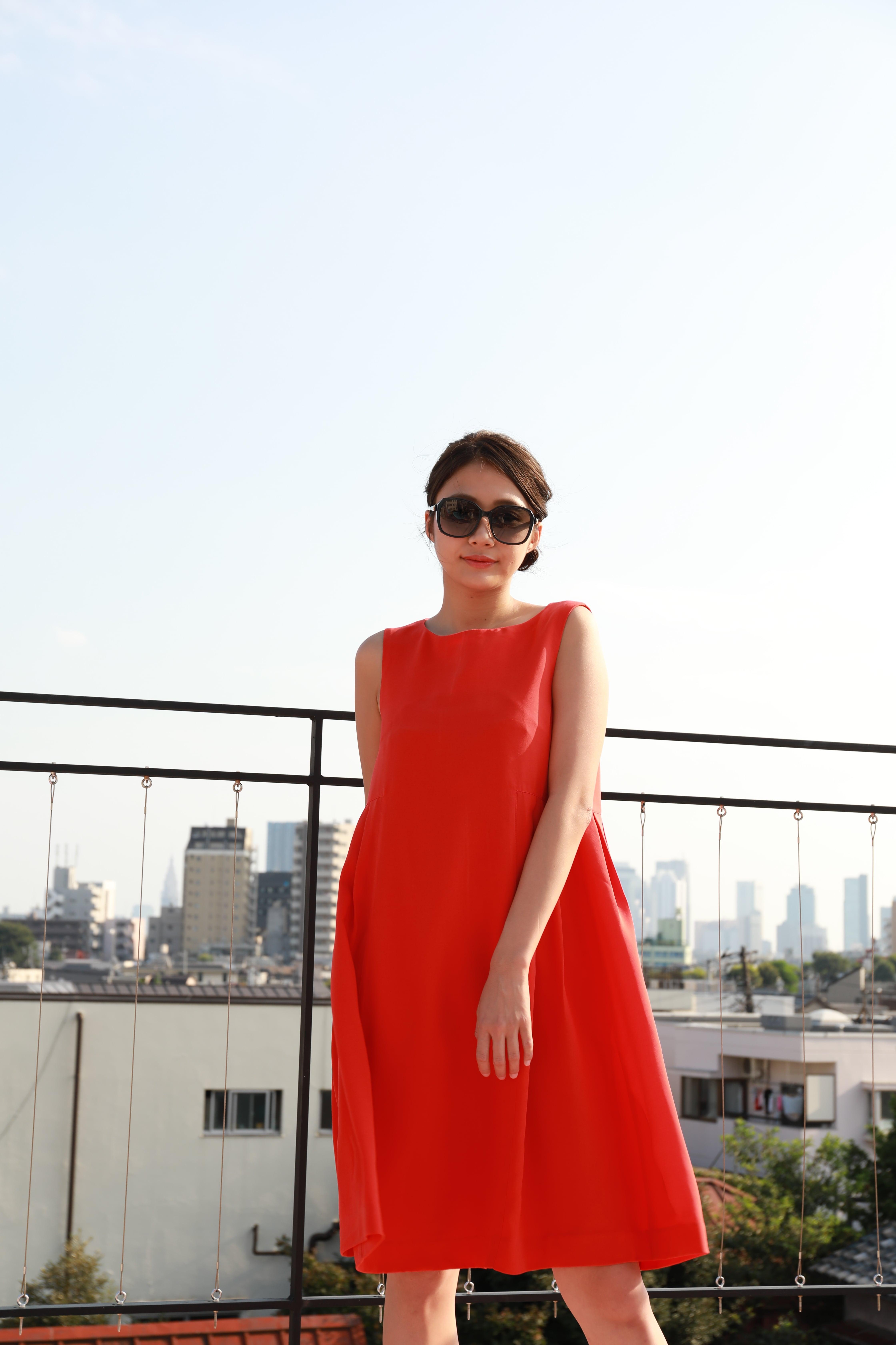 side tuck A-line dress