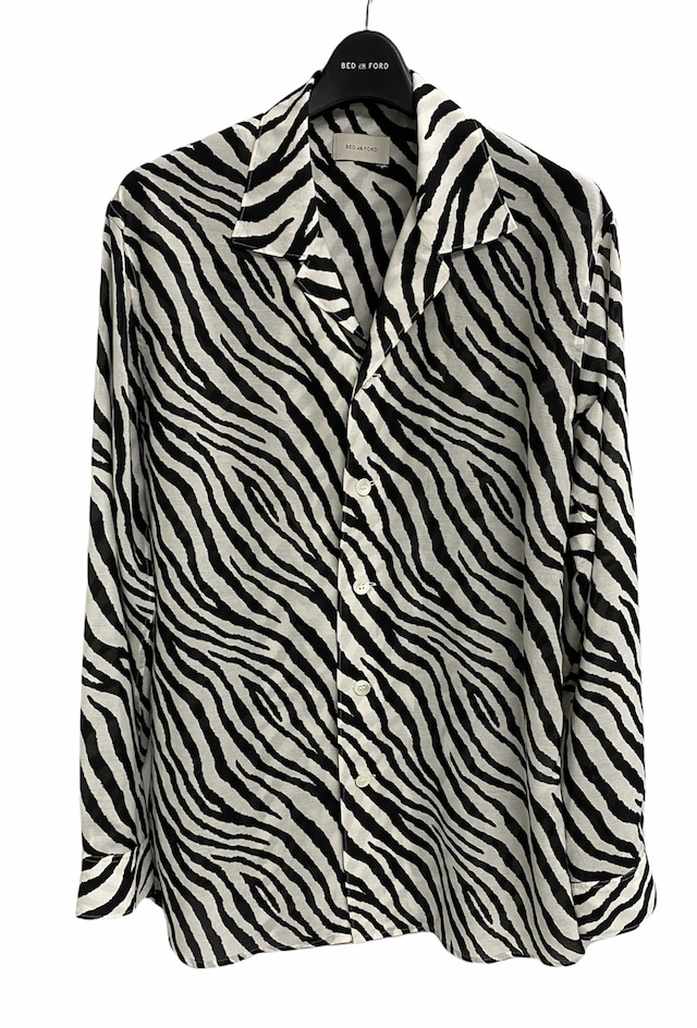 BED J.W. FORD / Open color shirts zebra pattern(WHITE)