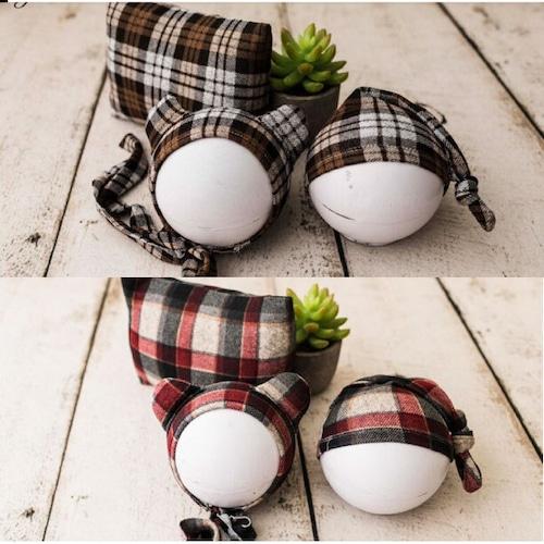 秋冬チェック柄♡くまさん帽子&sleepy帽子&お揃い枕3点セット/5カラー
