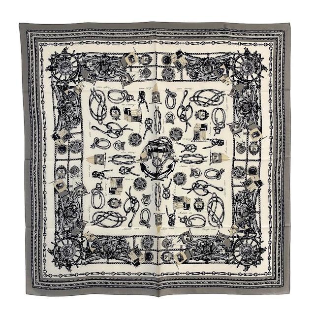 シルク100%|日本製|横浜スカーフ 手捺染 ロープアンカー|シック&モダンなイメージ♪【sp067】