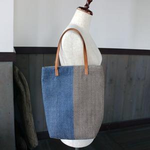 藍染リネン手織りトートバッグ(sb300)ヘリンボーン柄
