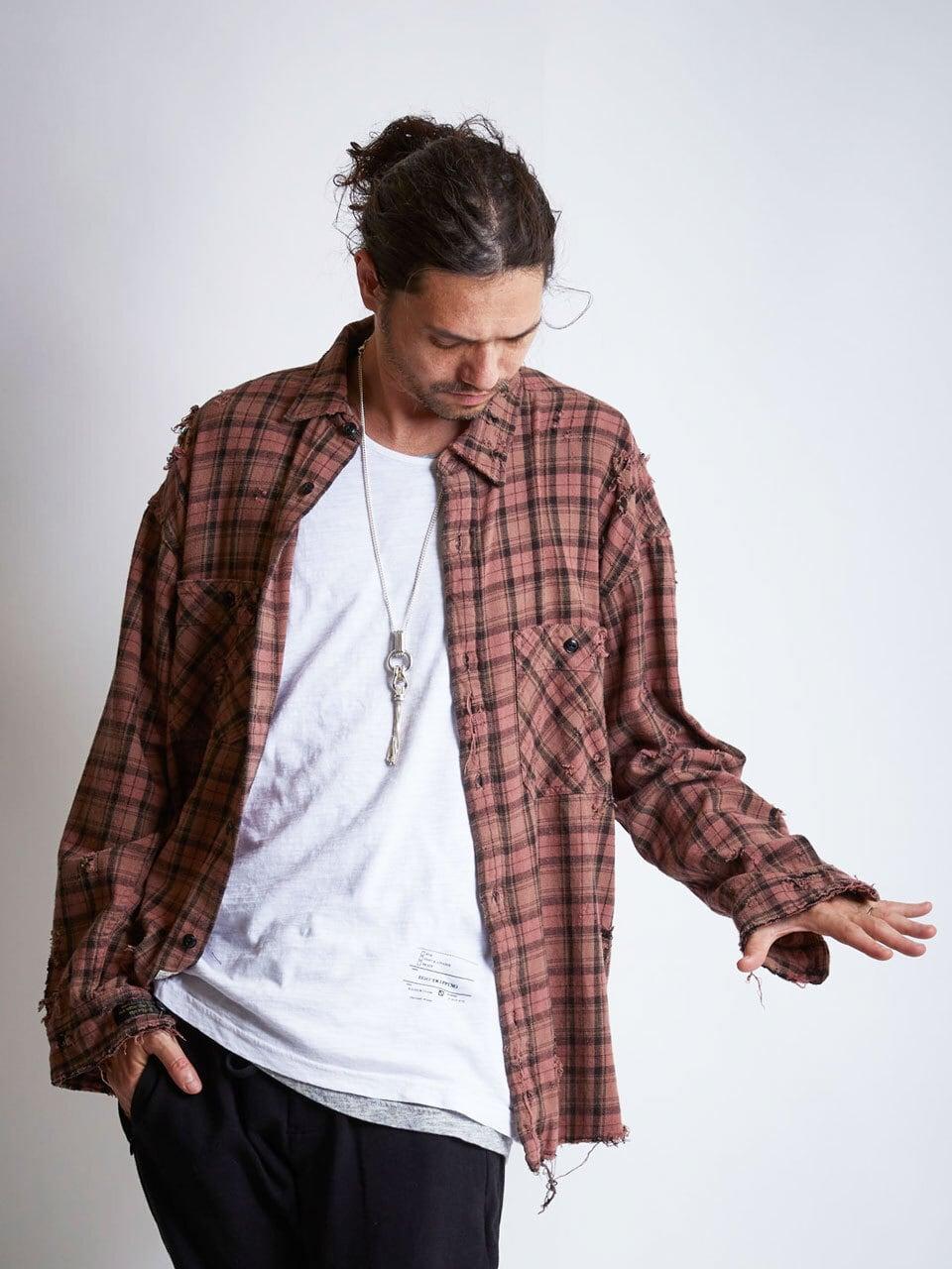 EGO TRIPPING (エゴトリッピング) GRUNGE CHECK SHIRTS グランジチェックシャツ / PINK 613708-10