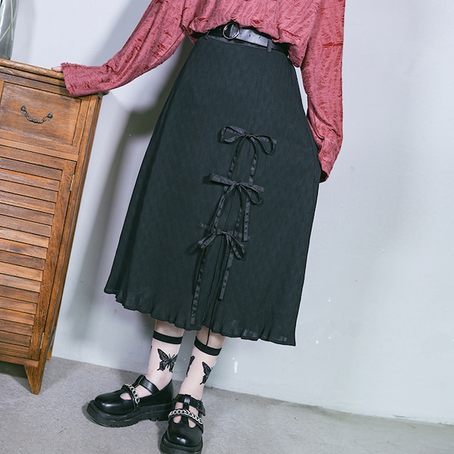 【古怪舍シリーズ】★スカート★ ロング丈 2color 黒or白 リボン 可愛い シンプル スリット ブラック 黒い S M L