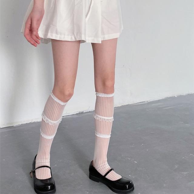 sheer frill tiered socks 2c's