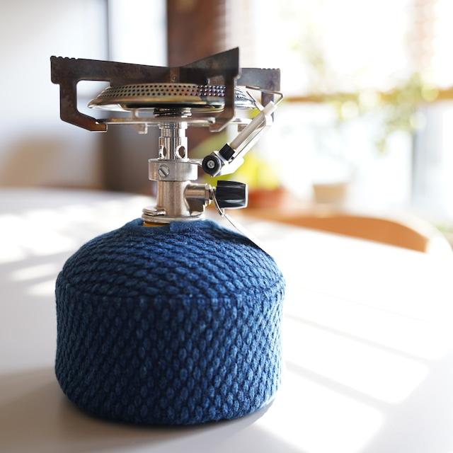 うしじま縫製 | 武州正藍染 OD缶(ガス缶)カバー 二重刺子 ブルー
