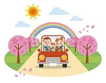 イラスト素材:ドライブを楽しむ家族/春(ベクター・JPG)