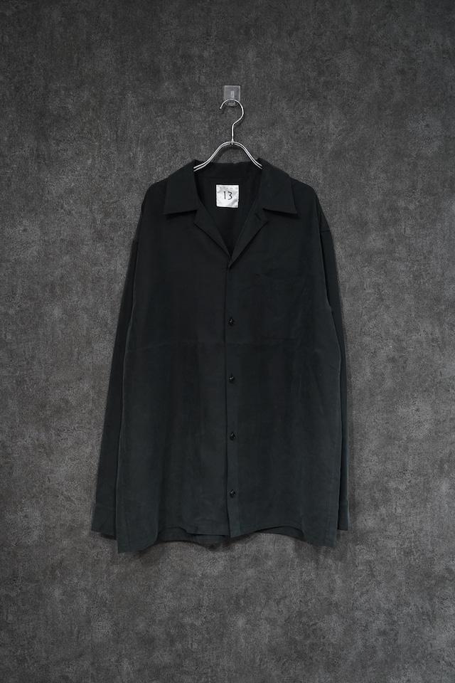 room13 Open Collar Shirt [ set up ] Black