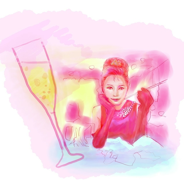 絵画 絵 ピクチャー 縁起画 モダン シェアハウス アートパネル アート art 14cm×14cm 一人暮らし 送料無料 インテリア 雑貨 壁掛け 置物 おしゃれ 人物画 女性 シャンパン ロココロ 画家 : Hiro K 作品 : H.O