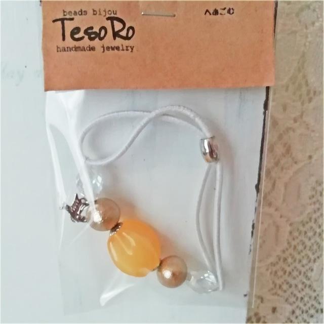 TesoRo:ヘアゴム白  鳥(小さなチャーム)黄色 手首に付けても可愛い♪