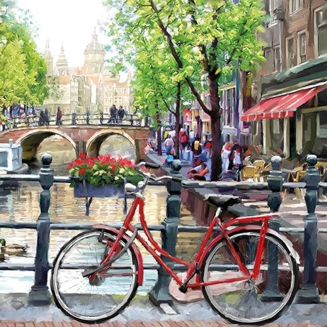 【Ambiente】バラ売り2枚 ランチサイズ ペーパーナプキン Amsterdam Canal レッド