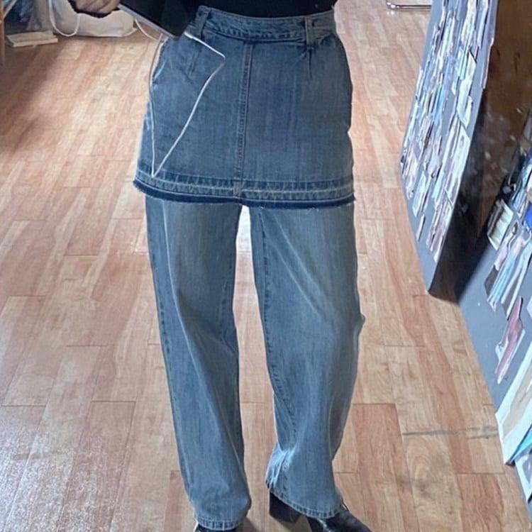 Fake two piece washed denim pants(フェイクツーピースウォッシュドデニムパンツ)b-345