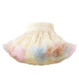2951キッズ スカート チュチュスカート チュールスカート 女の子 TUTU 韓国子供服 ふわふわ 可愛い 子供用 発表会 ダンス ステージ衣装 ベージュ