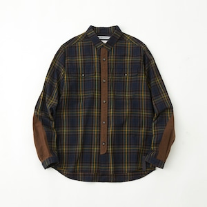 FLANNEL CHECK CONTRASTED SHIRT- NAVY