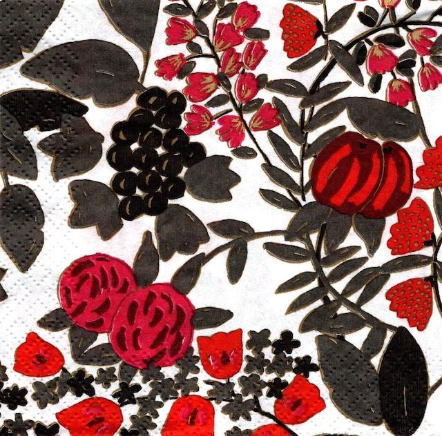 北欧【Finlayson】バラ売り2枚 ランチサイズ ペーパーナプキン RIIKINKUKKO レッド×グレー