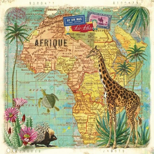 【Paperproducts Design】バラ売り2枚 ランチサイズ ペーパーナプキン Travel to Africa ナチュラル