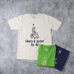 """【Mixta】S/S """" LIBERTY & JUSTICE FOR ALL"""" T-SHIRT (3色) MADE IN USA アメリカ製 Tシャツ 半袖 プリントT ハンドプリント"""