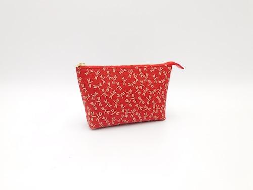 17cmポーチ 赤/赤 トンボ柄