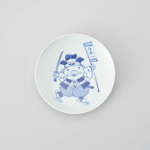 """【青花Kids】""""童話"""" 丸銘々皿(桃太郎)"""