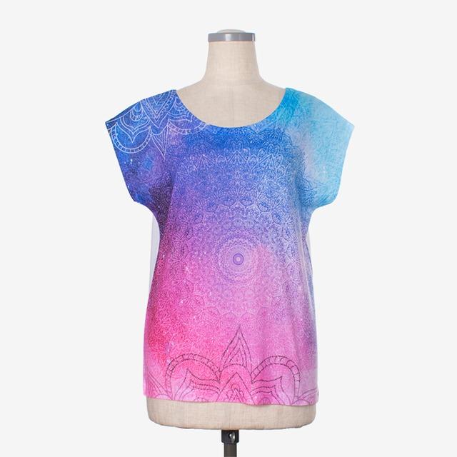 ヨガプリントTシャツ マンダラ7 Yoga print T-shirt Mandala7