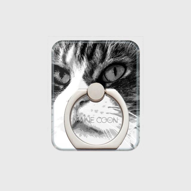 メインクーン おしゃれな猫スマホリング【IMPACT -shirokuro- 】