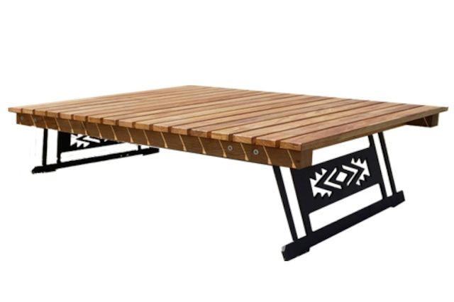 アイアン×デザイン集成材サイドテーブル「打ち込みタイプ」フック付 CAMPOOPARTS  キャンプ オーパーツ