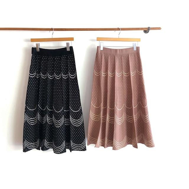 ドット&ウエーブニットスカート