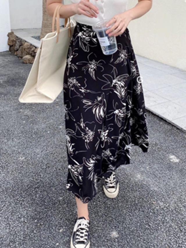 カジュアル 花柄 シフォンスカート ロング丈★2色