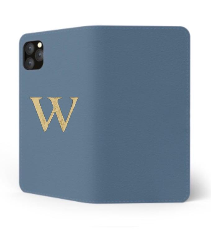 iPhone Premium Smooth Leather Case (Capri Blue) : Book Cover