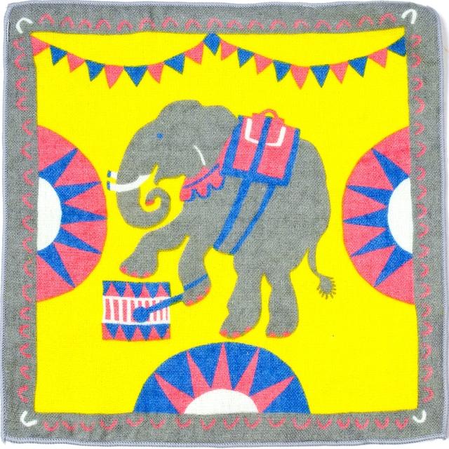 ひびのこづえ ミニタオル おとぎ話 / サーカスのゾウ イエロー 25x25cm ガーゼ&パイル 日本製 KH16-04