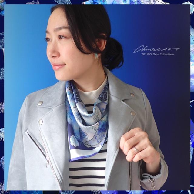 シルクスカーフ「クラゲの傘」クラゲモチーフのスカーフ 50cm角