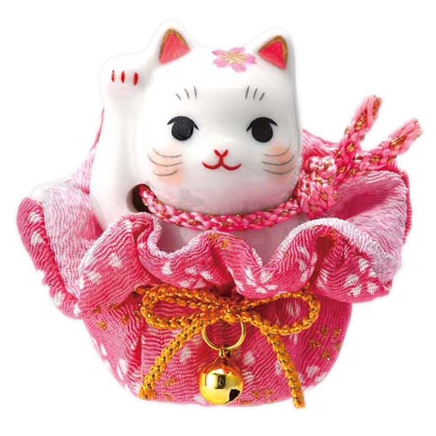 【金運財運】薬師窯招き猫 彩絵 桜巾着 招き猫 おめでたい縁起置物(右手上げ)