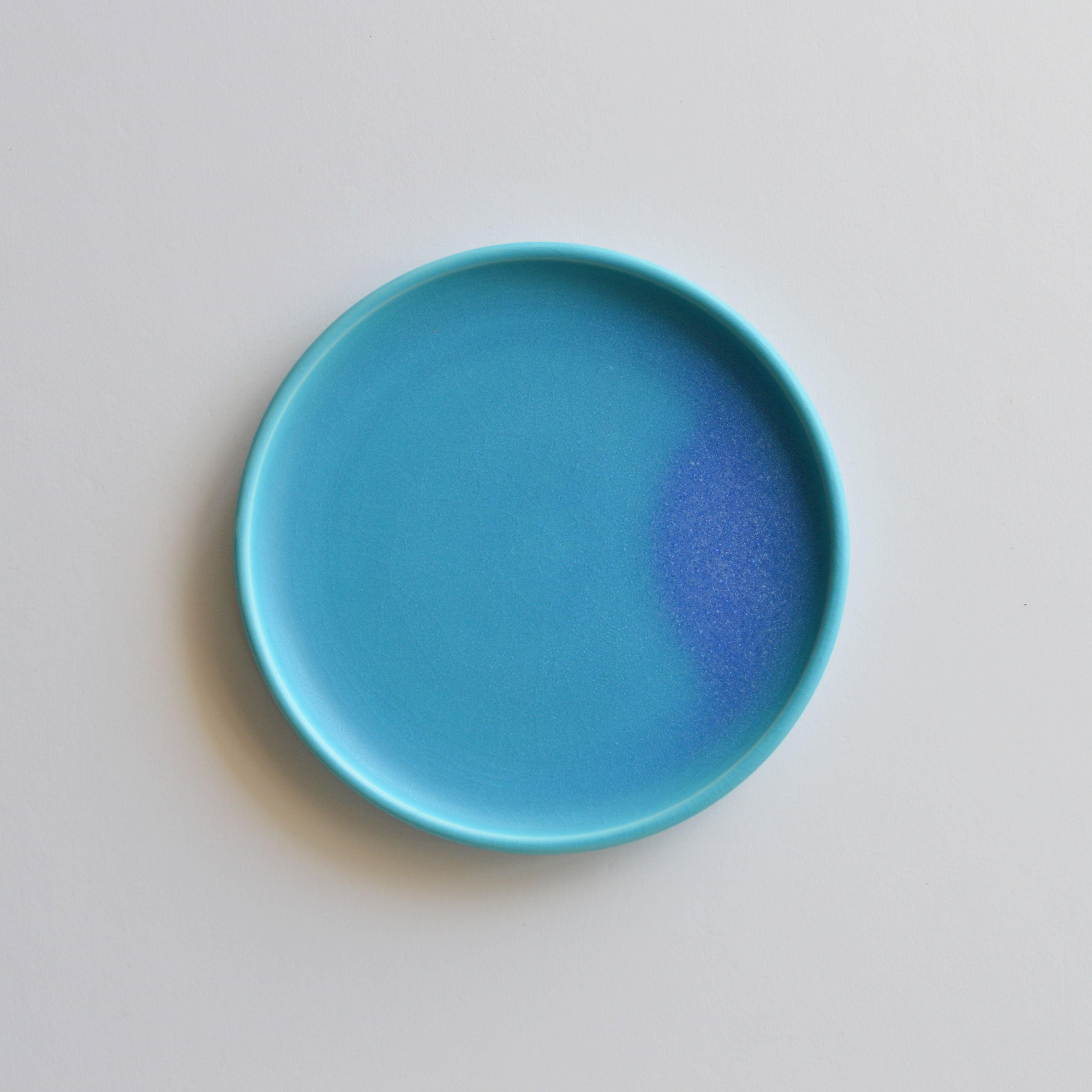 トルコ青  6寸皿  琉球工藝