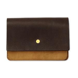 forme Hand wallet combi Liscio dark brown