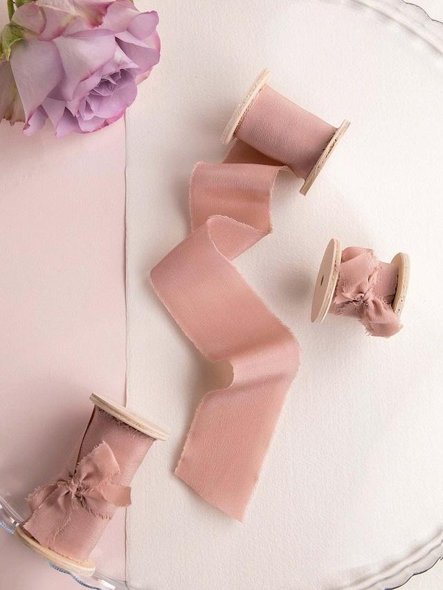 Vintage Rose Silk Ribbon(手染め手裂きタイプ) ■木製スプール付 シルクリボン ヴィンテージローズ