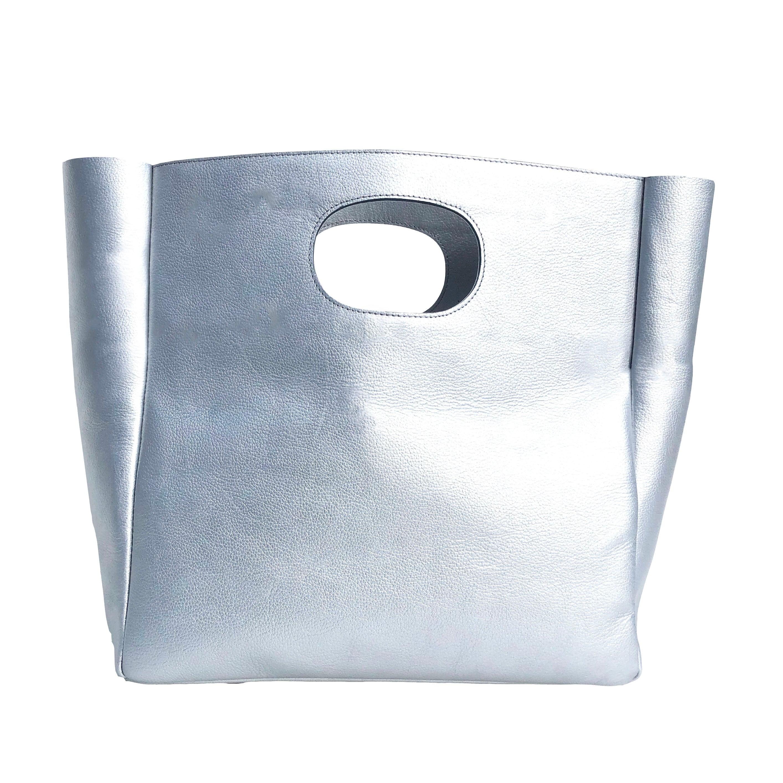 Box Leather Bag + Strap/SILVER