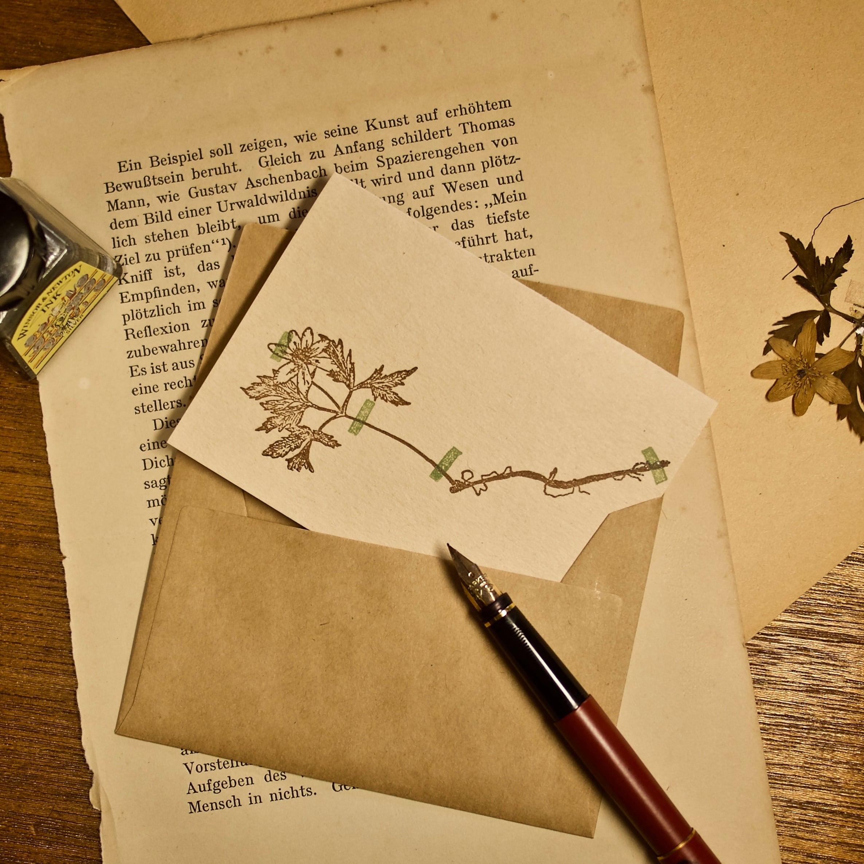 【カード 小】アンティーク押し花 アネモネ / カード1枚+封筒1枚/活版印刷