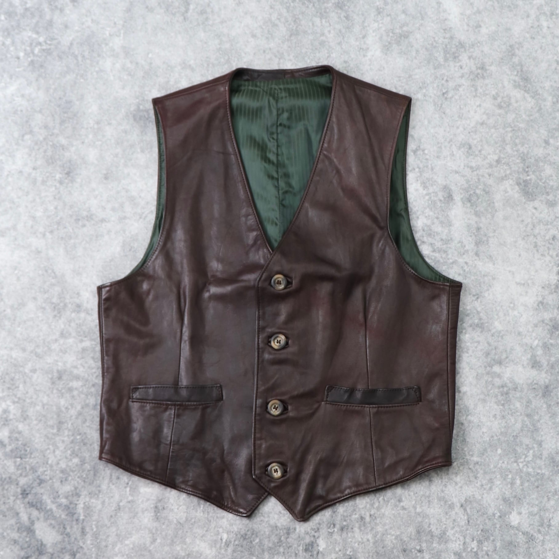 1970~80s   Vintage   Leather  Vest  42 b233