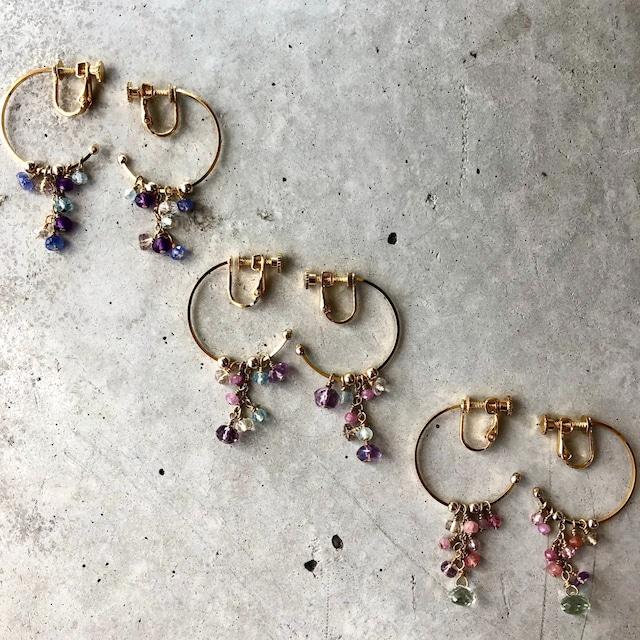 【LE-14BR】Natural stone hoop earring Aピンクカラー Bパープルカラー C ブルーカラー