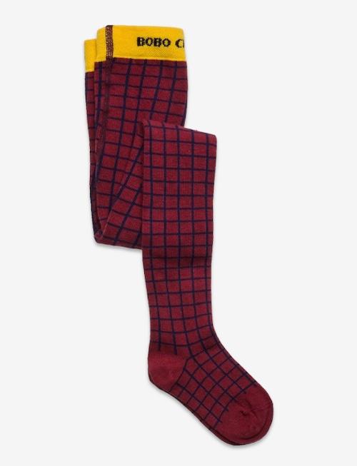 【Bobo Choses】Checkered Maroon tights